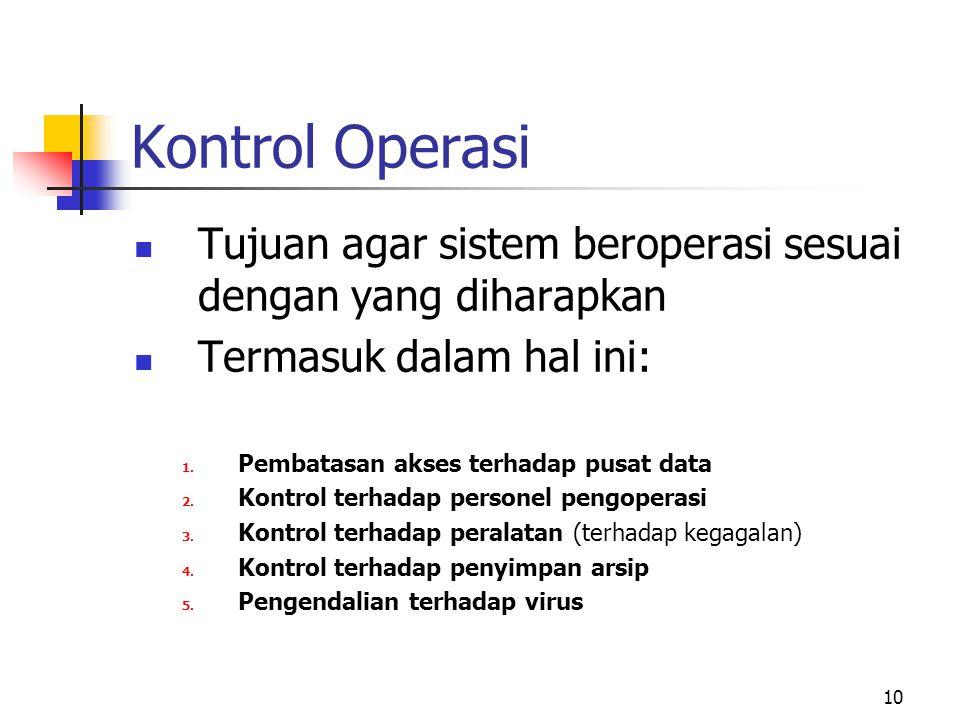 Kontrol Operasi Tujuan agar sistem beroperasi sesuai dengan yang diharapkan. Termasuk dalam hal ini: