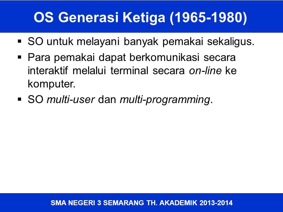 OS Generasi Ketiga (1965-1980) SO untuk melayani banyak pemakai sekaligus.