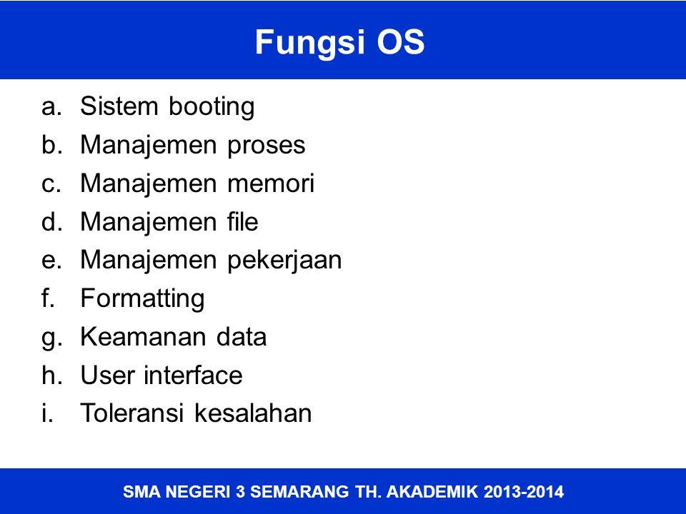 Fungsi OS Sistem booting Manajemen proses Manajemen memori