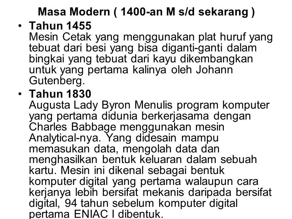 Masa Modern ( 1400-an M s/d sekarang )