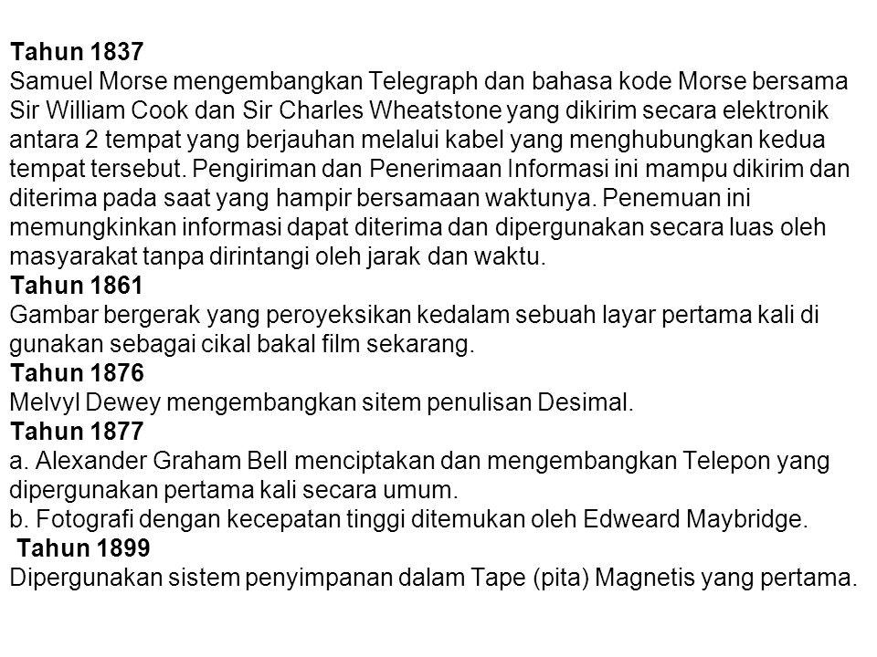 Tahun 1837 Samuel Morse mengembangkan Telegraph dan bahasa kode Morse bersama Sir William Cook dan Sir Charles Wheatstone yang dikirim secara elektronik antara 2 tempat yang berjauhan melalui kabel yang menghubungkan kedua tempat tersebut.