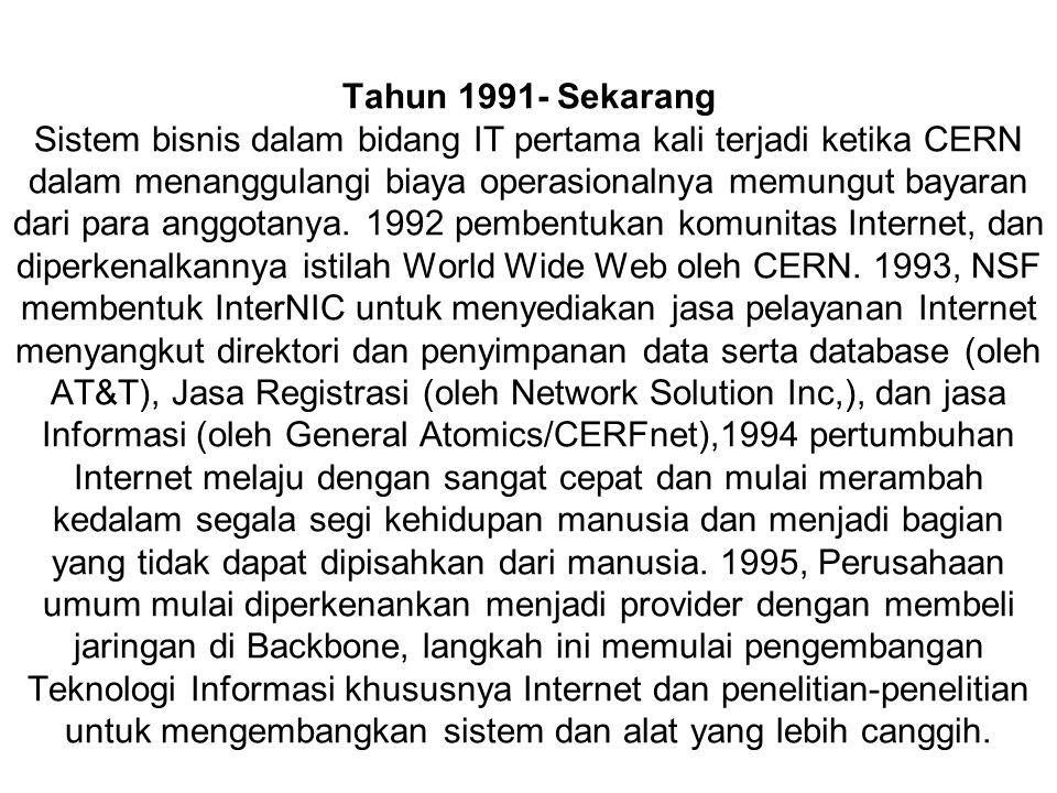Tahun 1991- Sekarang Sistem bisnis dalam bidang IT pertama kali terjadi ketika CERN dalam menanggulangi biaya operasionalnya memungut bayaran dari para anggotanya.