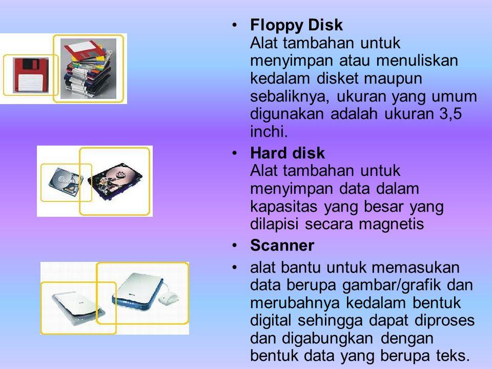Floppy Disk Alat tambahan untuk menyimpan atau menuliskan kedalam disket maupun sebaliknya, ukuran yang umum digunakan adalah ukuran 3,5 inchi.
