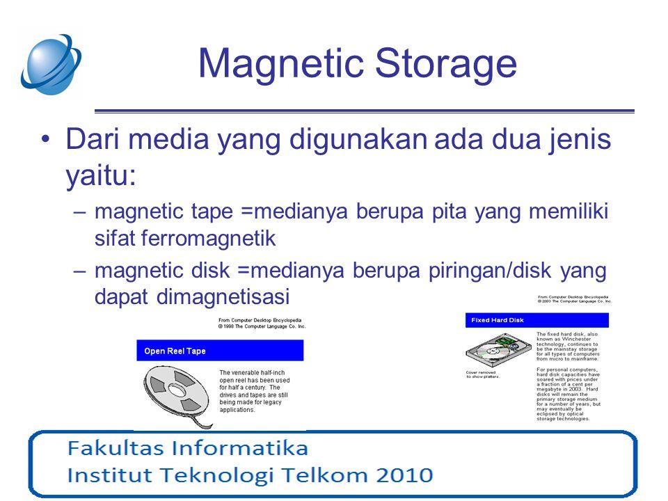 Magnetic Storage Dari media yang digunakan ada dua jenis yaitu: