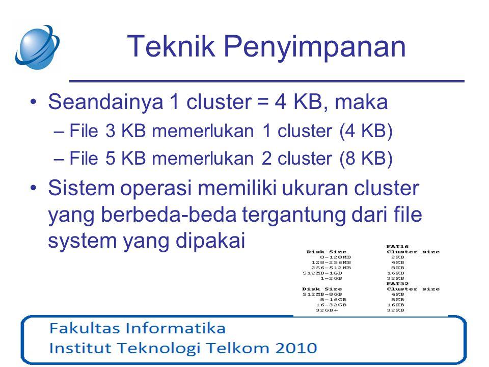 Teknik Penyimpanan Seandainya 1 cluster = 4 KB, maka