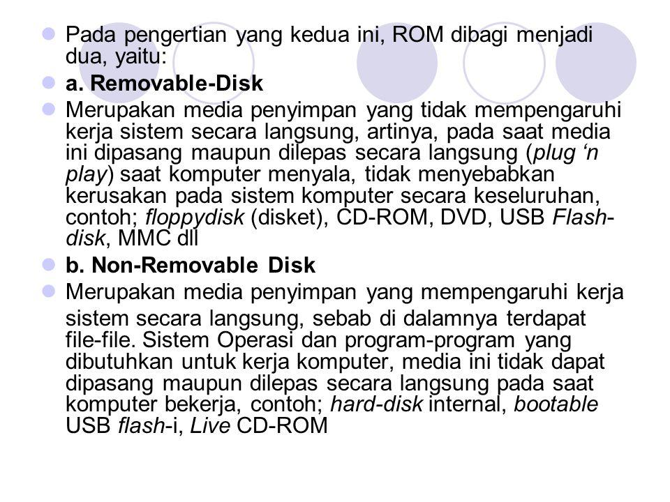Pada pengertian yang kedua ini, ROM dibagi menjadi dua, yaitu: