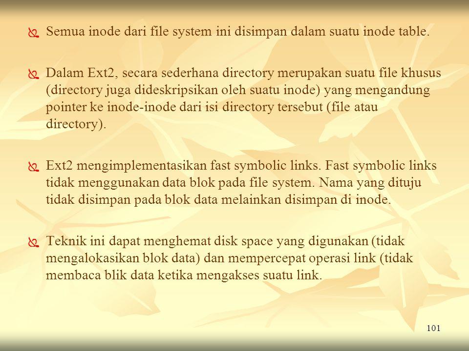 Semua inode dari file system ini disimpan dalam suatu inode table.