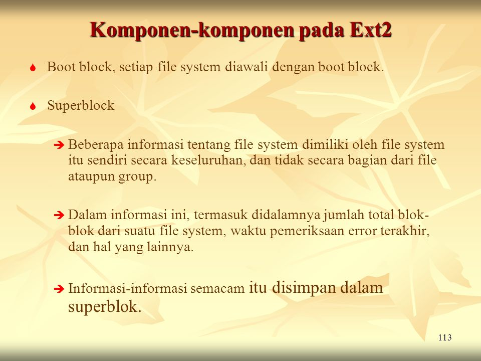 Komponen-komponen pada Ext2