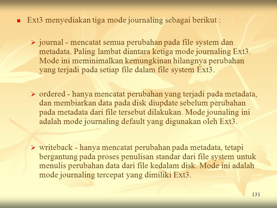 Ext3 menyediakan tiga mode journaling sebagai berikut :