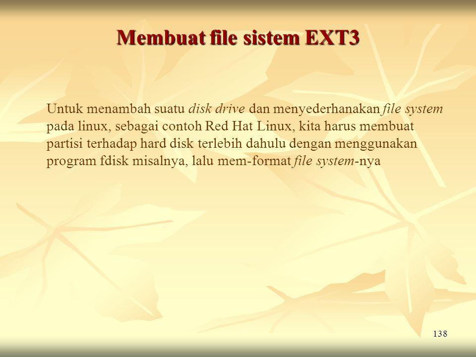 Membuat file sistem EXT3