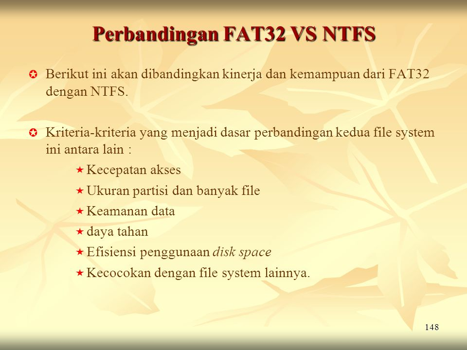Perbandingan FAT32 VS NTFS