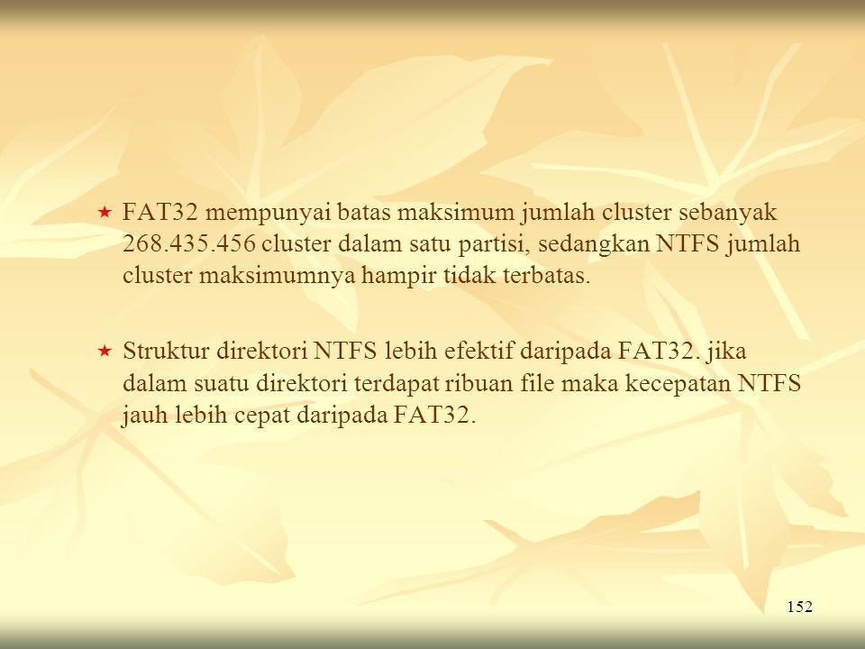 FAT32 mempunyai batas maksimum jumlah cluster sebanyak 268. 435