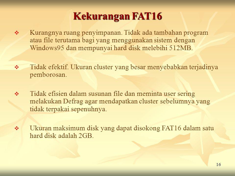 Kekurangan FAT16