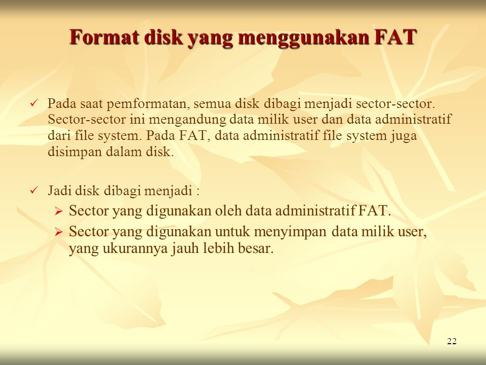Format disk yang menggunakan FAT