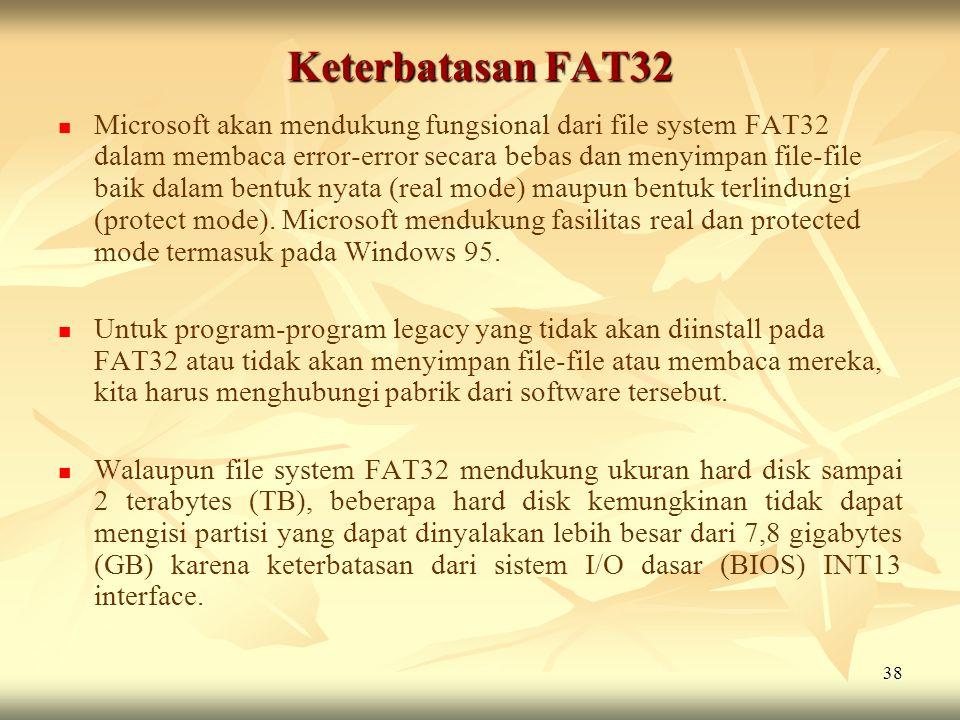 Keterbatasan FAT32