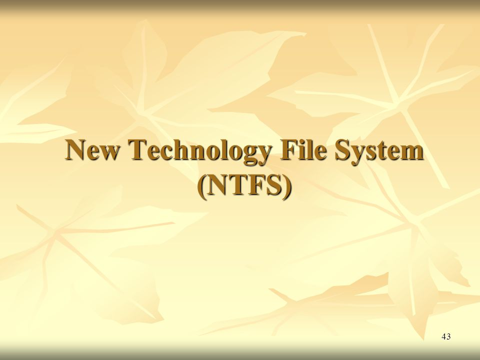 New Technology File System (NTFS)