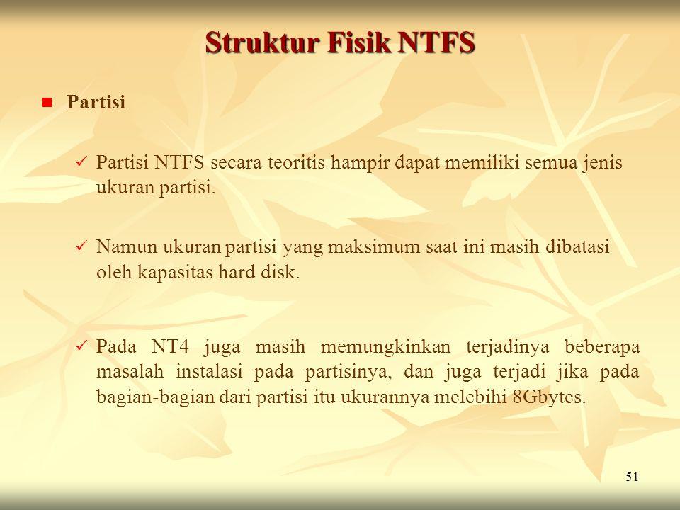 Struktur Fisik NTFS Partisi
