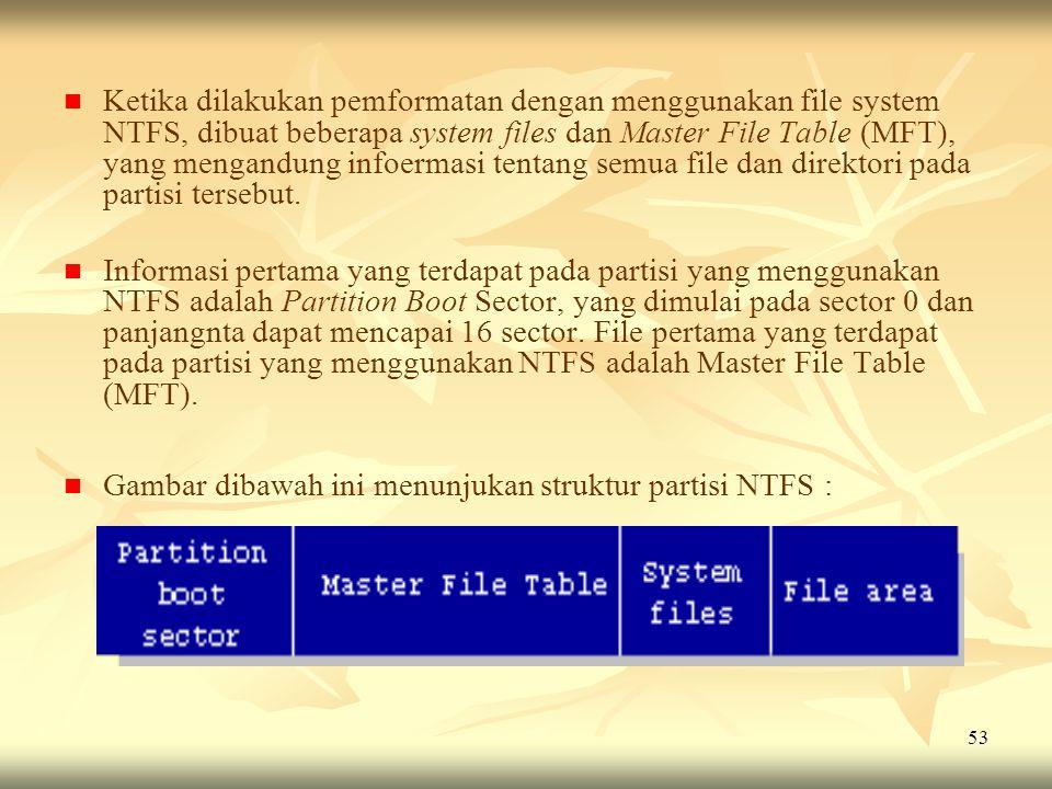 Ketika dilakukan pemformatan dengan menggunakan file system NTFS, dibuat beberapa system files dan Master File Table (MFT), yang mengandung infoermasi tentang semua file dan direktori pada partisi tersebut.