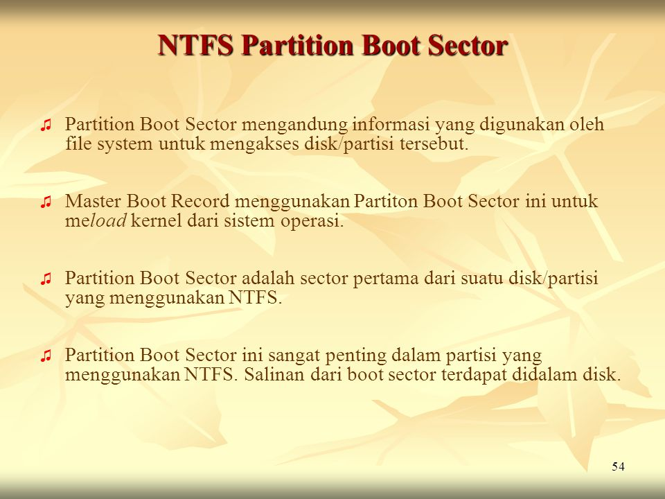 NTFS Partition Boot Sector