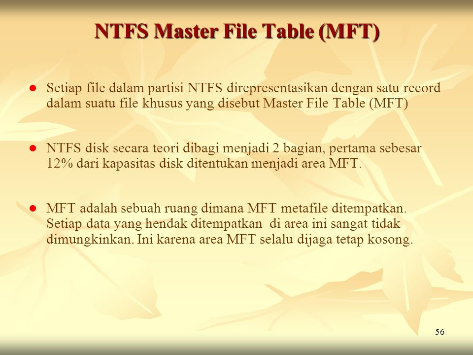 NTFS Master File Table (MFT)