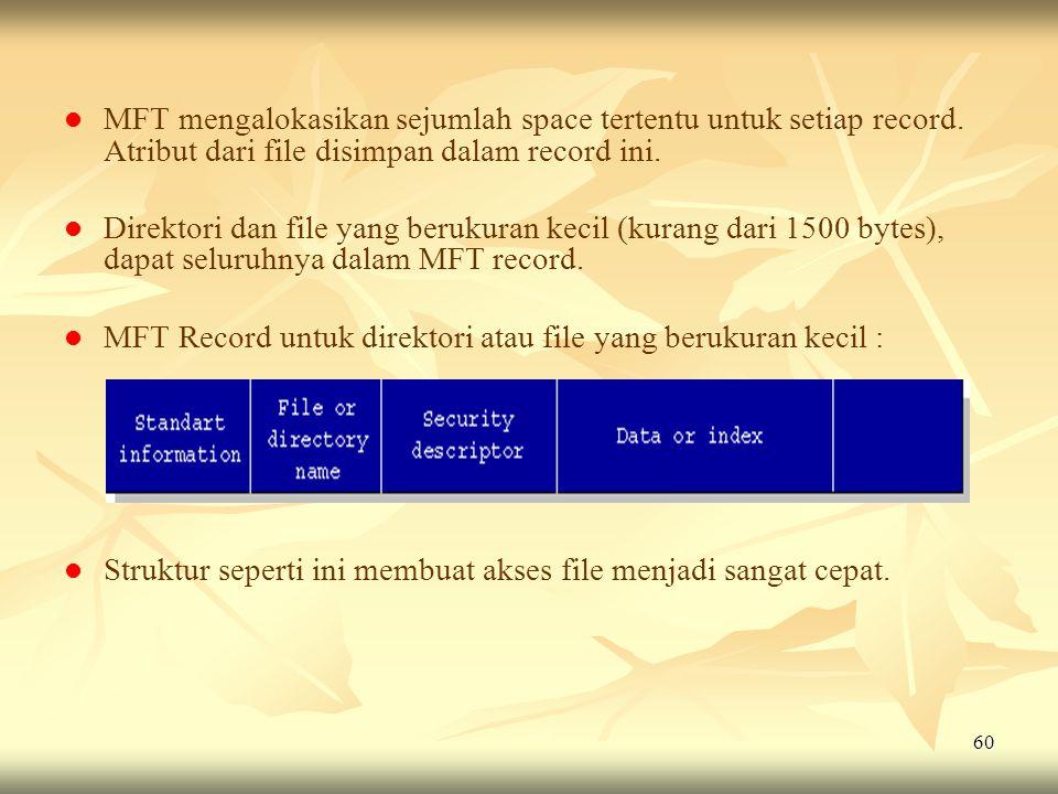 MFT mengalokasikan sejumlah space tertentu untuk setiap record