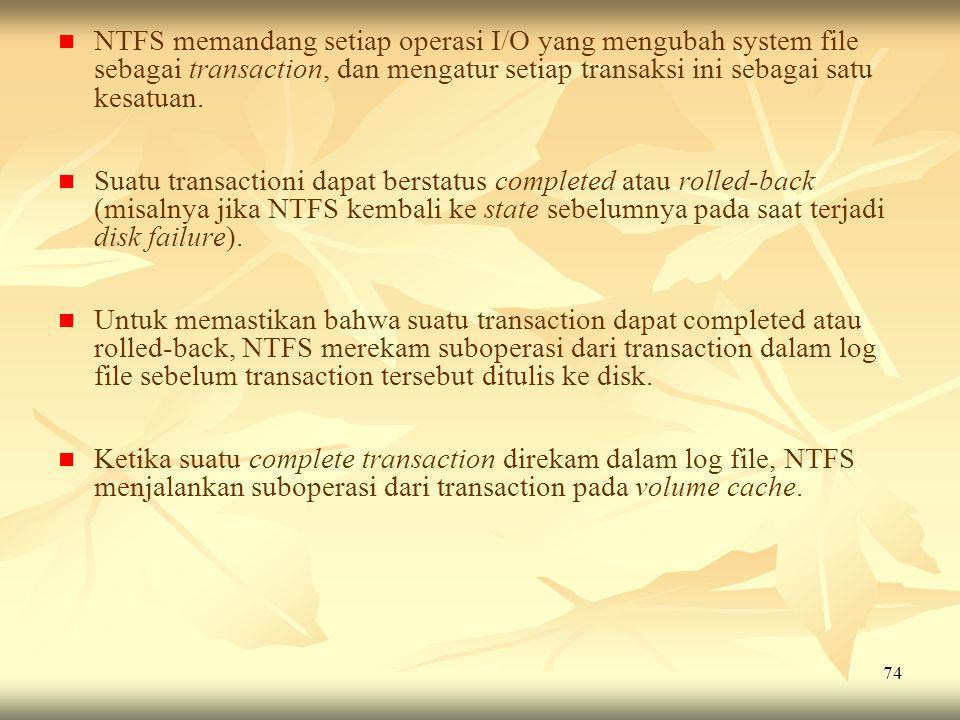 NTFS memandang setiap operasi I/O yang mengubah system file sebagai transaction, dan mengatur setiap transaksi ini sebagai satu kesatuan.