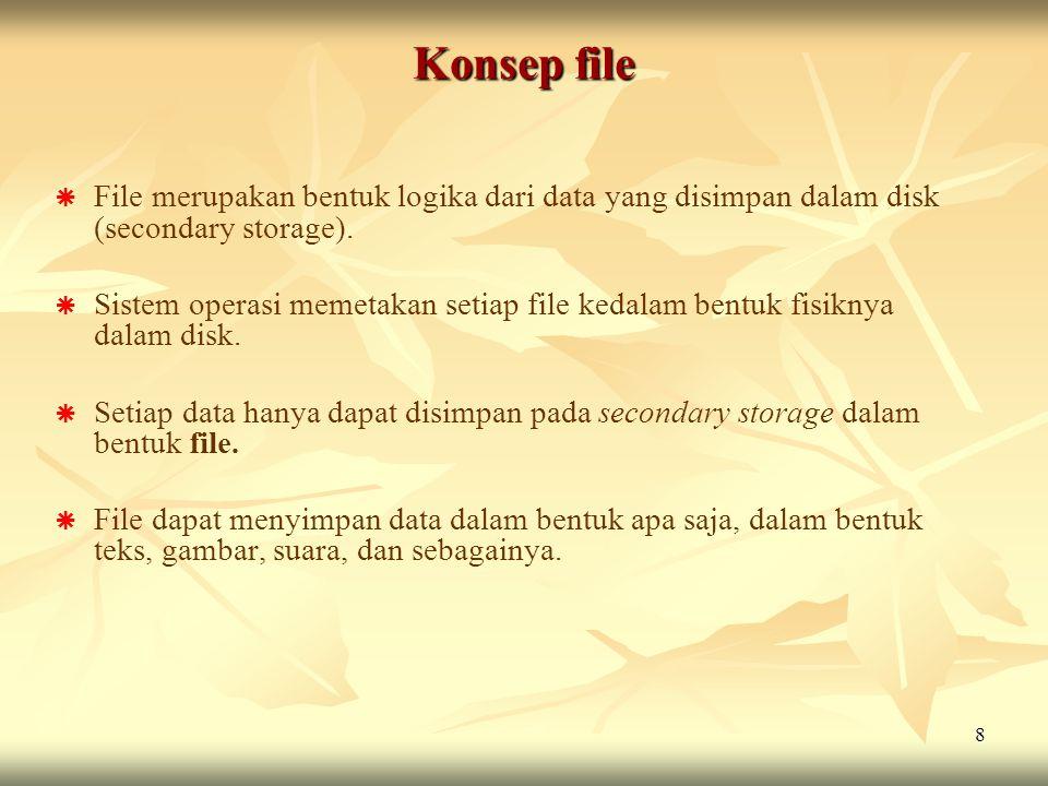Konsep file File merupakan bentuk logika dari data yang disimpan dalam disk (secondary storage).