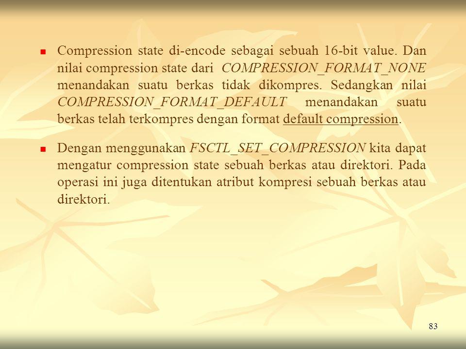 Compression state di-encode sebagai sebuah 16-bit value
