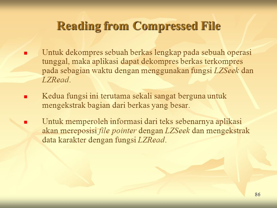 Reading from Compressed File