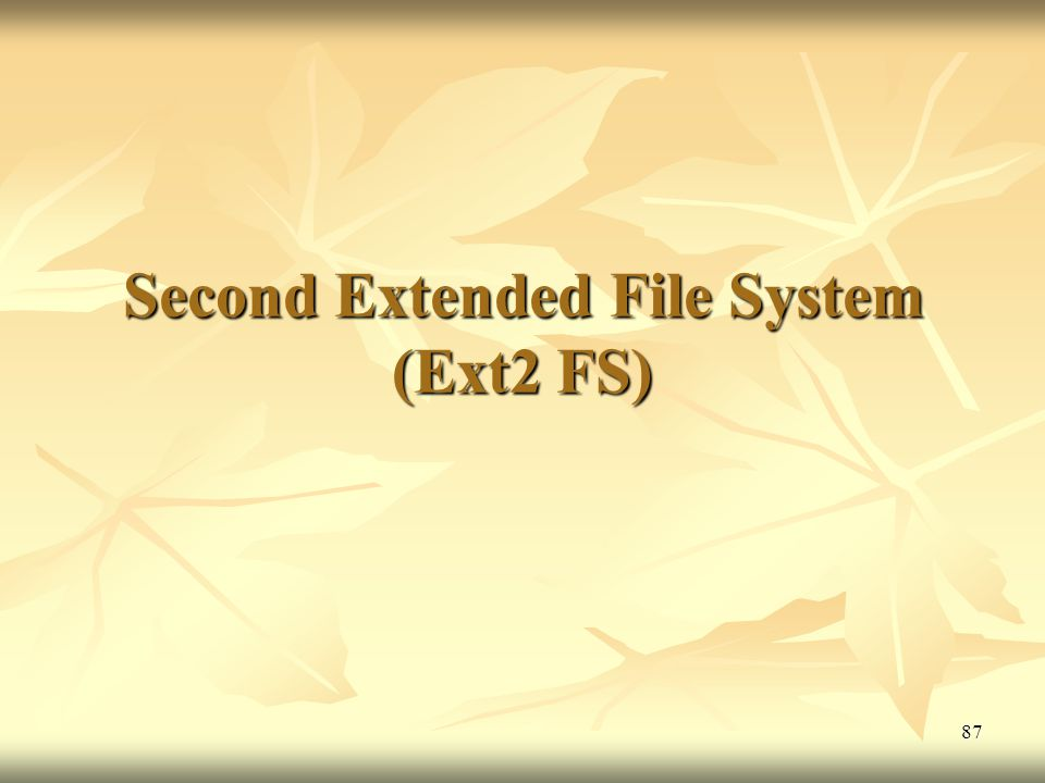 Second Extended File System (Ext2 FS)