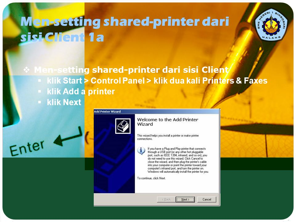 Men-setting shared-printer dari sisi Client 1a