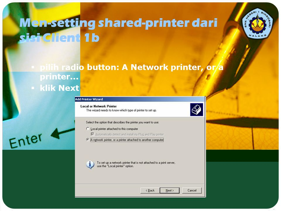 Men-setting shared-printer dari sisi Client 1b