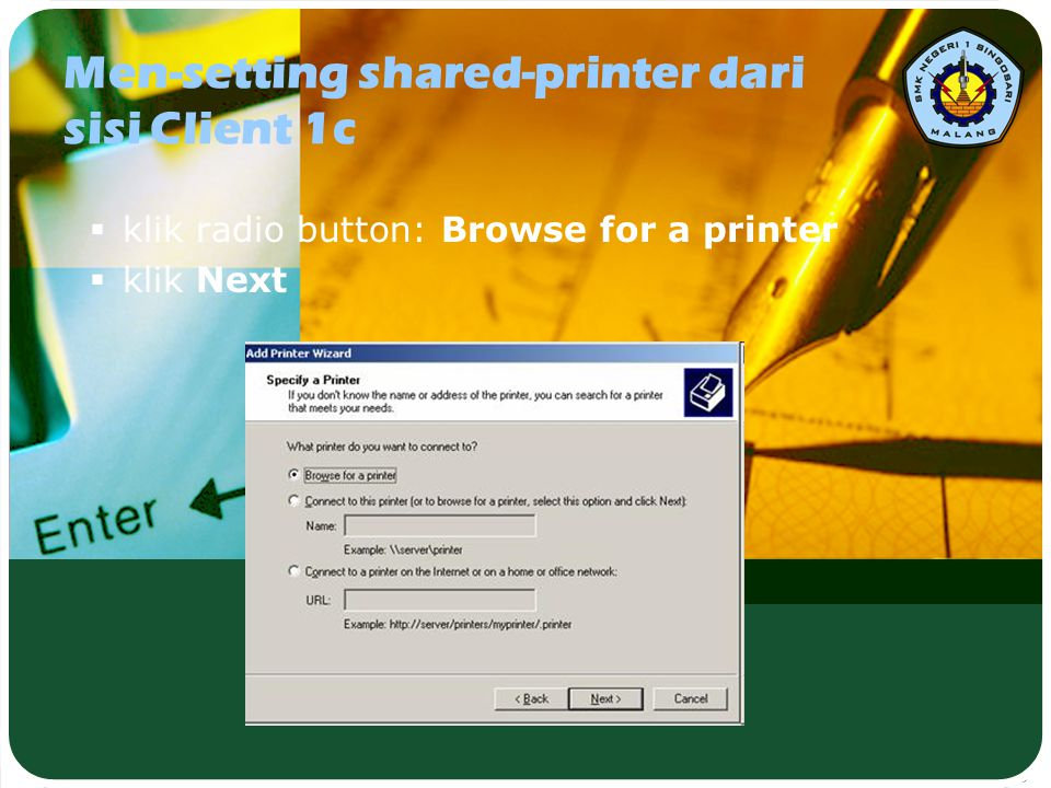 Men-setting shared-printer dari sisi Client 1c