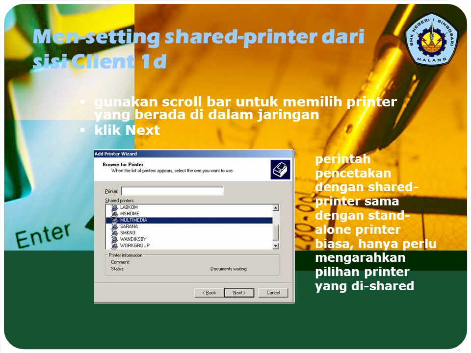 Men-setting shared-printer dari sisi Client 1d