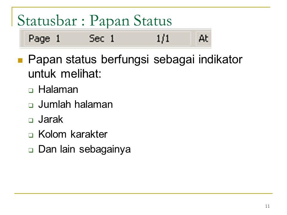 Statusbar : Papan Status