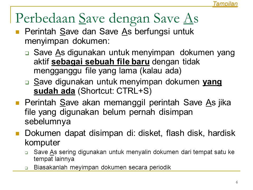 Perbedaan Save dengan Save As