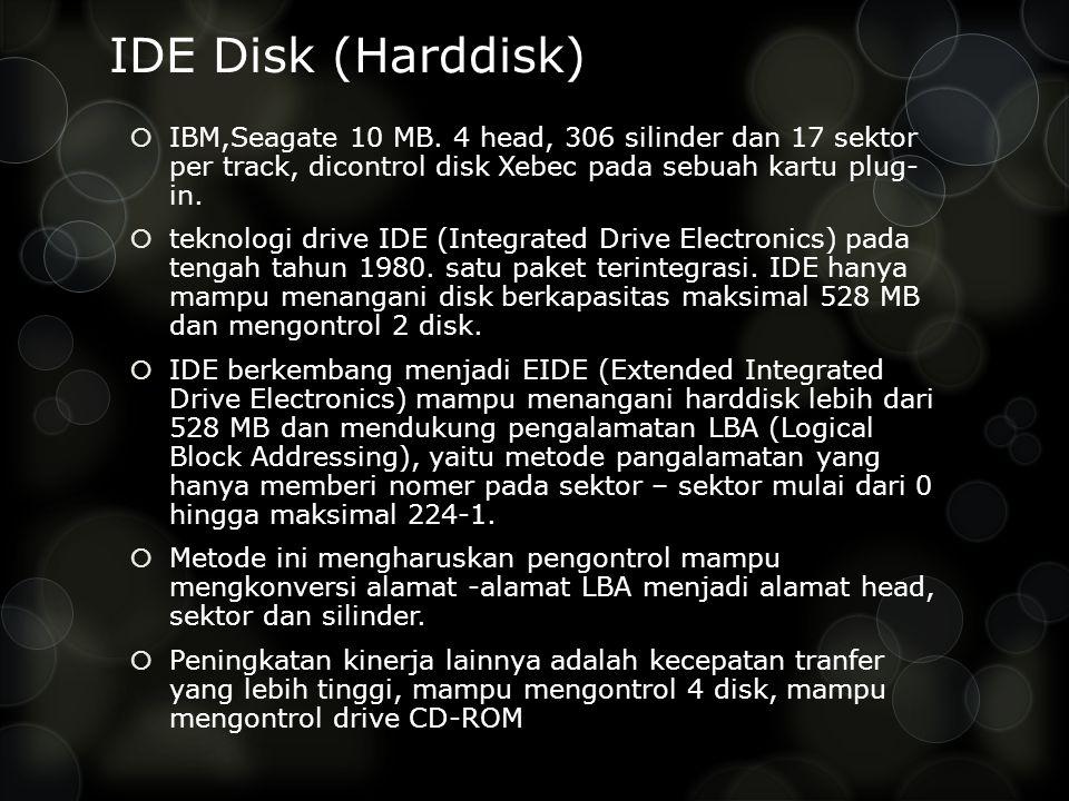 IDE Disk (Harddisk) IBM,Seagate 10 MB. 4 head, 306 silinder dan 17 sektor per track, dicontrol disk Xebec pada sebuah kartu plug- in.