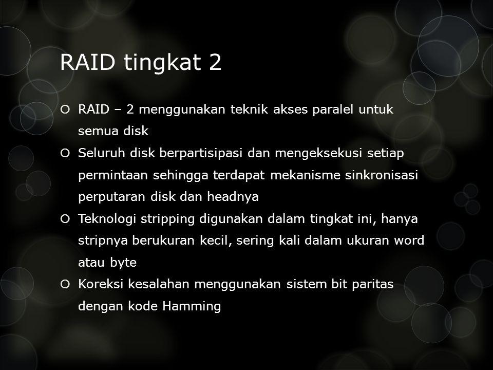 RAID tingkat 2 RAID – 2 menggunakan teknik akses paralel untuk