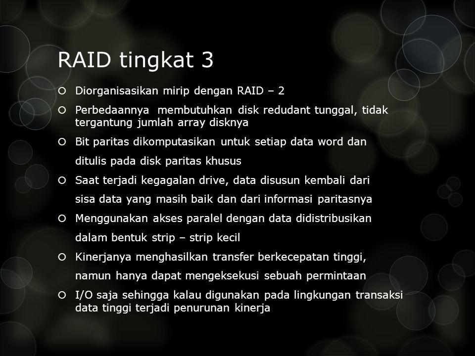 RAID tingkat 3 Diorganisasikan mirip dengan RAID – 2