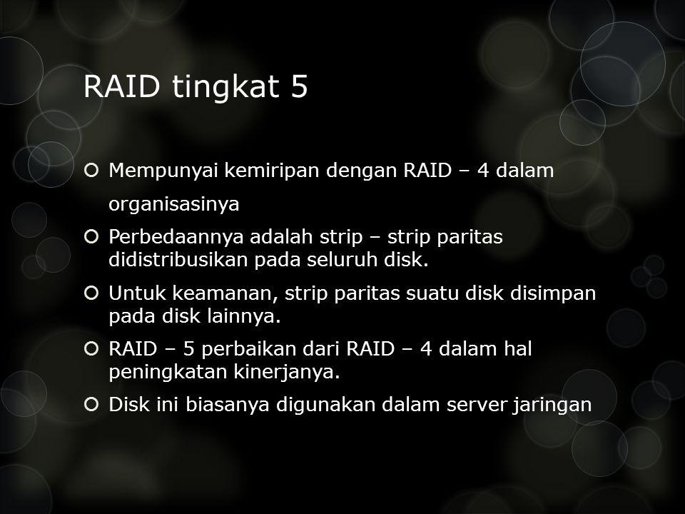 RAID tingkat 5 Mempunyai kemiripan dengan RAID – 4 dalam organisasinya