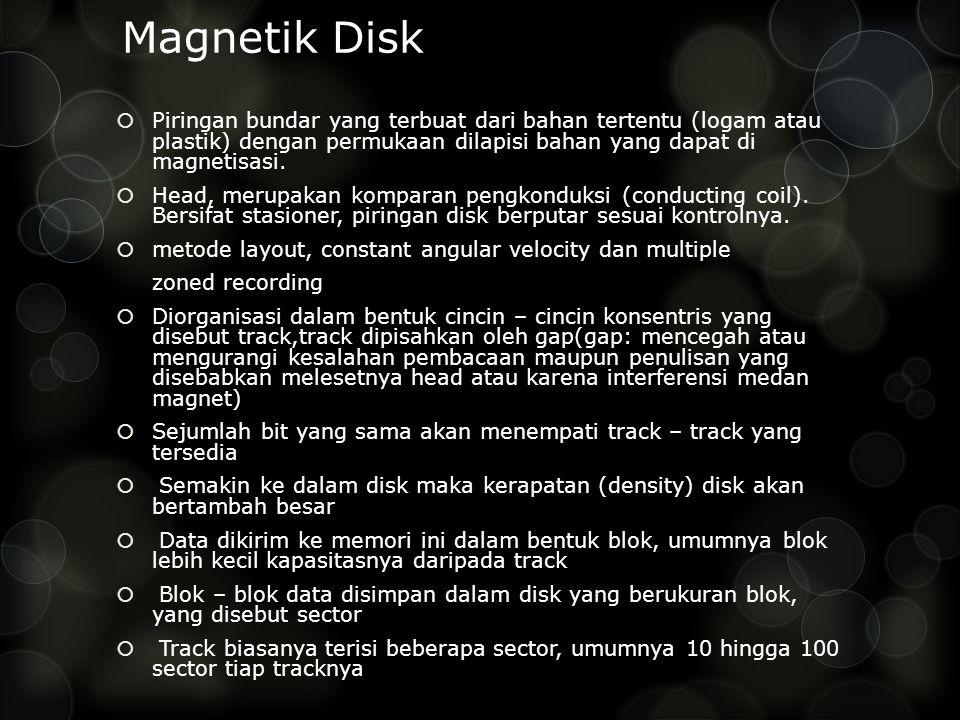 Magnetik Disk Piringan bundar yang terbuat dari bahan tertentu (logam atau plastik) dengan permukaan dilapisi bahan yang dapat di magnetisasi.