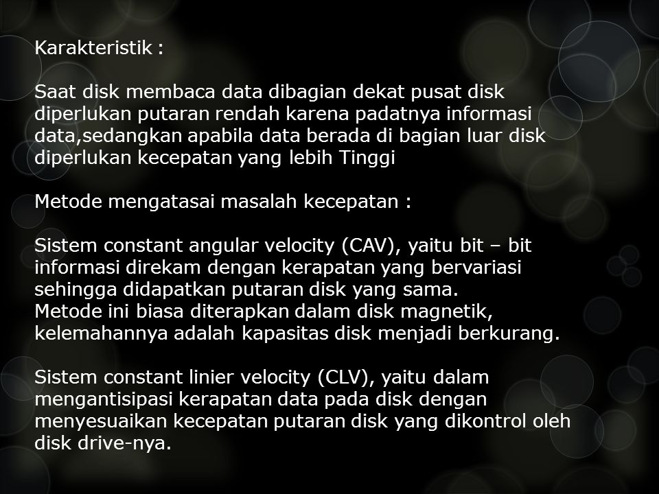 Karakteristik :