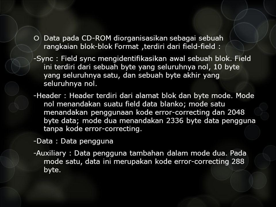 Data pada CD-ROM diorganisasikan sebagai sebuah rangkaian blok-blok Format ,terdiri dari field-field :