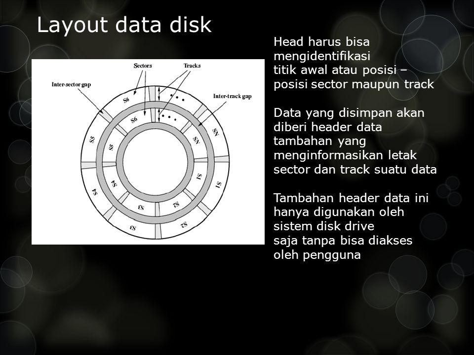 Layout data disk Head harus bisa mengidentifikasi