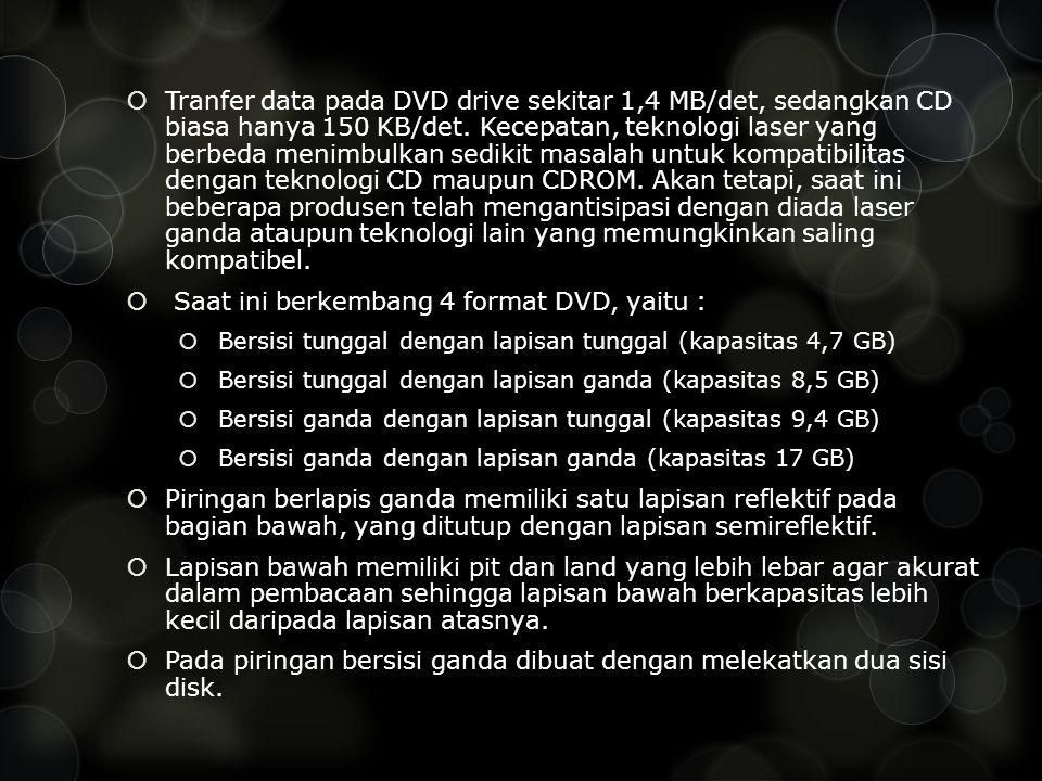 Saat ini berkembang 4 format DVD, yaitu :
