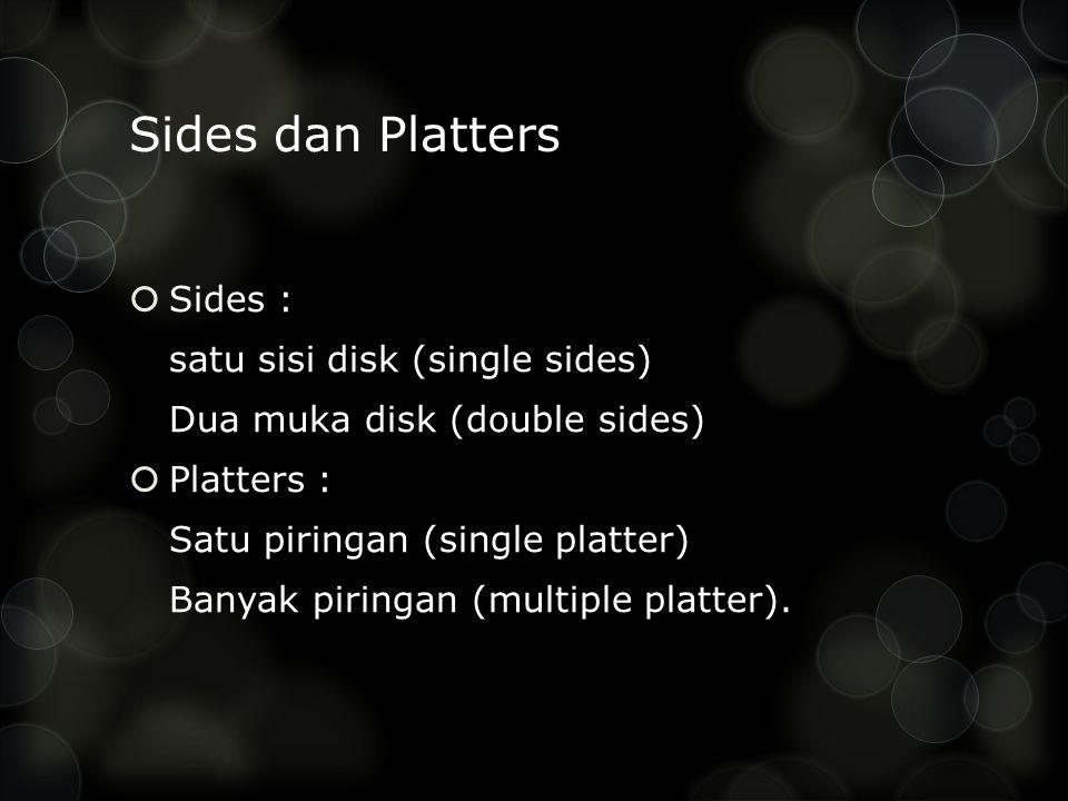 Sides dan Platters Sides : satu sisi disk (single sides)