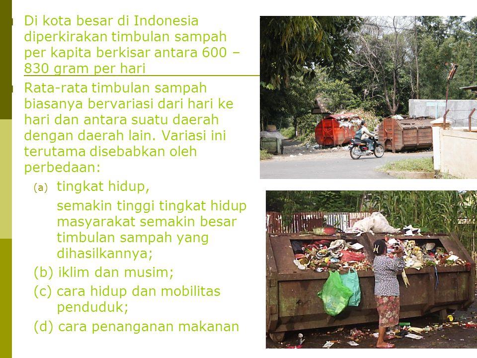 Di kota besar di Indonesia diperkirakan timbulan sampah per kapita berkisar antara 600 – 830 gram per hari