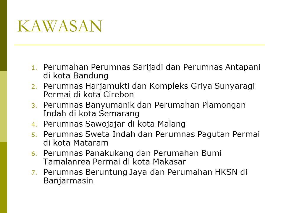 KAWASAN Perumahan Perumnas Sarijadi dan Perumnas Antapani di kota Bandung. Perumnas Harjamukti dan Kompleks Griya Sunyaragi Permai di kota Cirebon.
