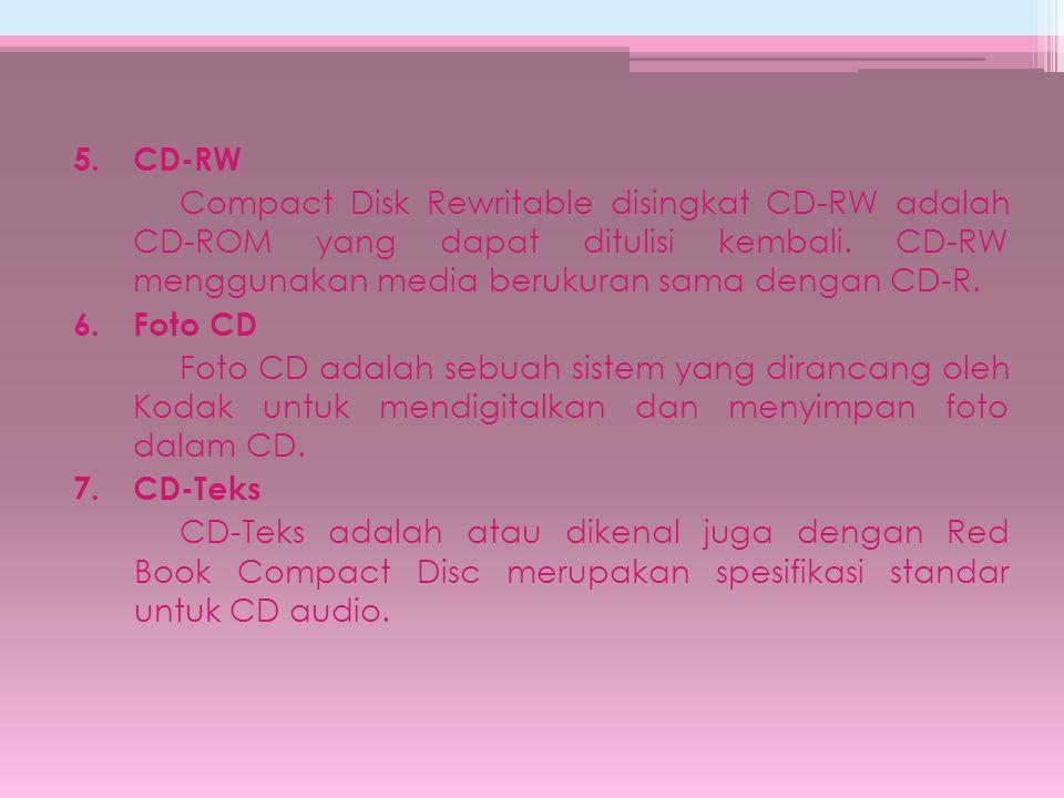 5. CD-RW Compact Disk Rewritable disingkat CD-RW adalah CD-ROM yang dapat ditulisi kembali.