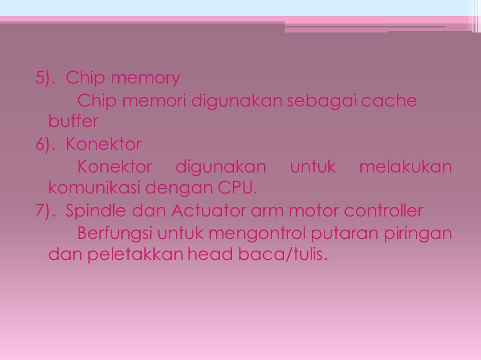 5). Chip memory Chip memori digunakan sebagai cache buffer 6)